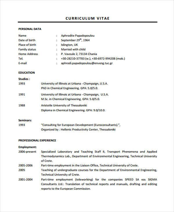 11 engineer curriculum vitae template sles free