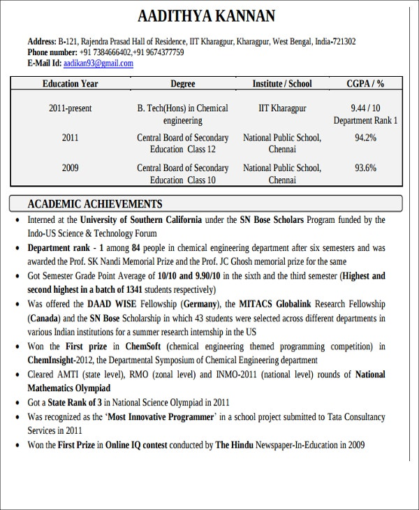 Resume For Freshers Chemical Engineers