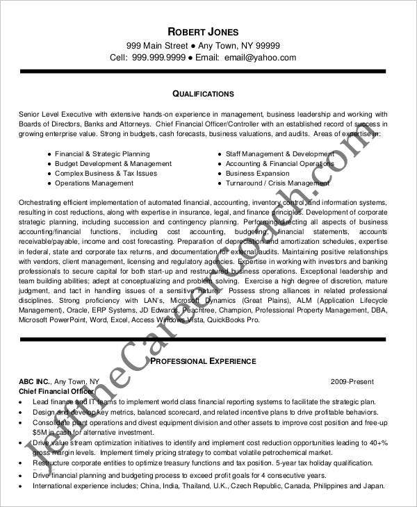 chief financial officer resume doc 28 images sle cover