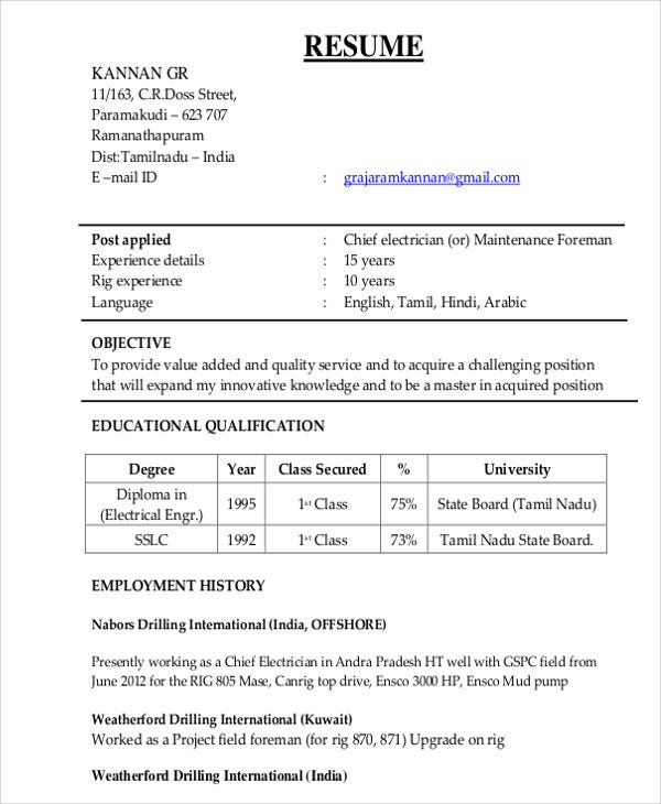 Beautiful Chief Electrician Resume Template
