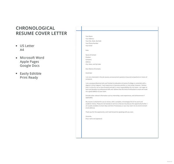 chronological-resume-cover-letter-template