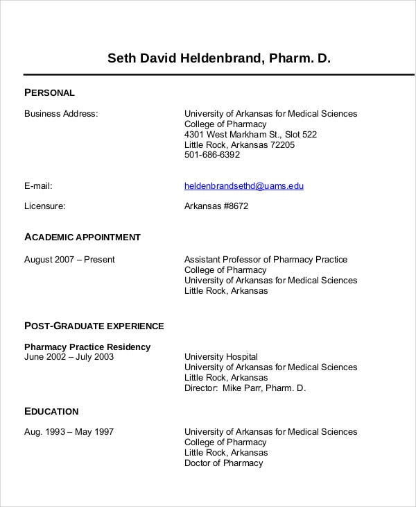 Clinical Pharmacist Resume Clinical Pharmacist Resume Example