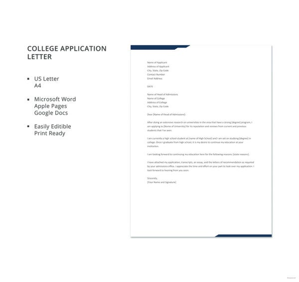 10 sample college application letters free premium templates sample college application letter template altavistaventures Gallery