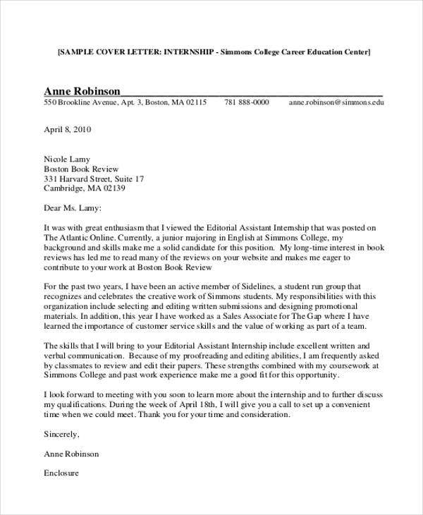 9 Internship Cover Letter Free Sample Example Format Download