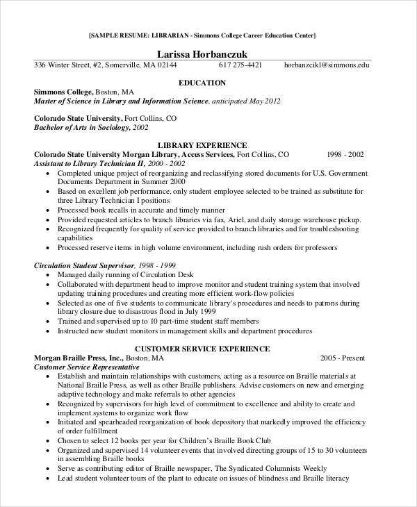 college librarian - Library Resume Sample