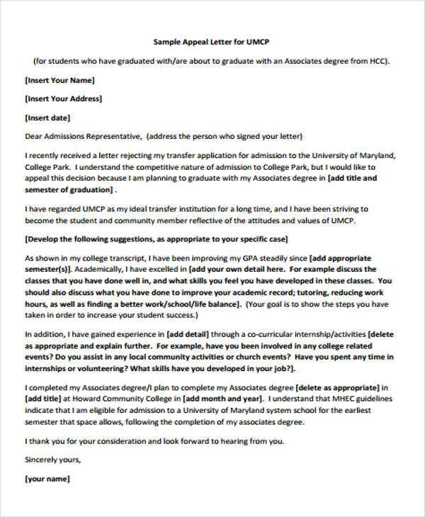 college rejection appeal