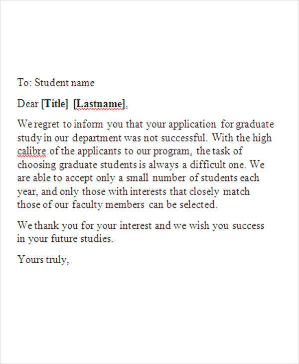 college rejection email