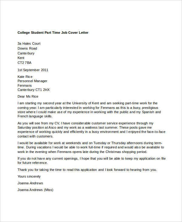 8 PartTime Job Cover Letter Templates Free Sample Example