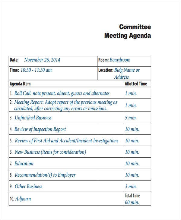 committee meeting agenda3