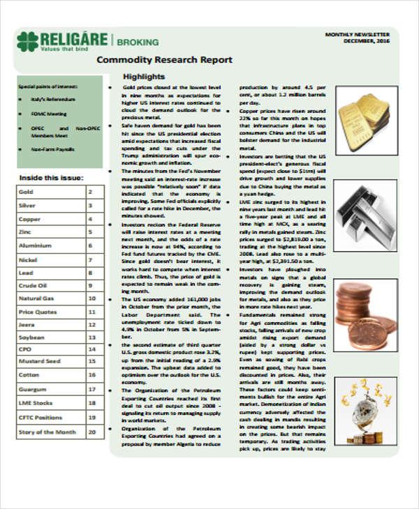 commodity report