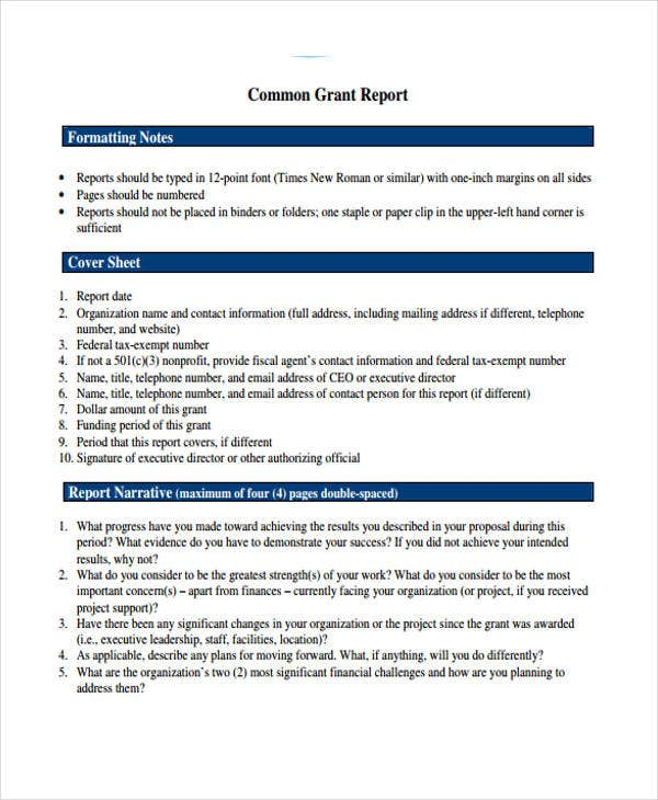 common grant report template