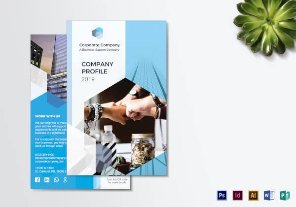 company profile bi fold brochure template