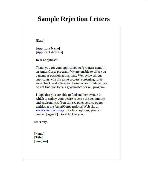 Attractive Company Rejection Letter To Applicant