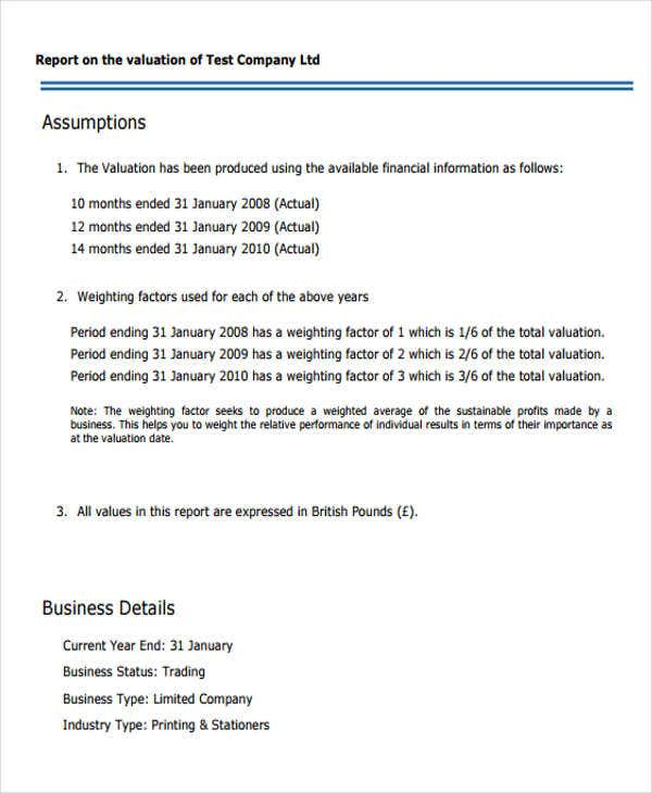 Valuation report templates 9 free word pdf format download business valuation wajeb Image collections