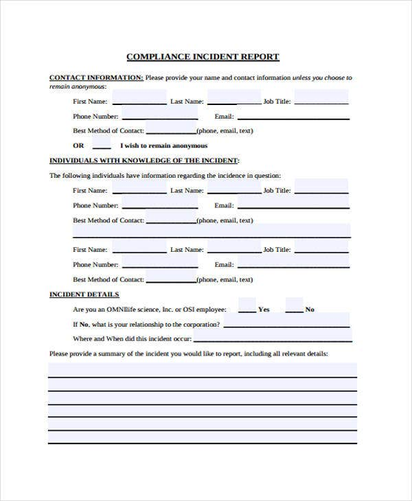 compliance incident report template