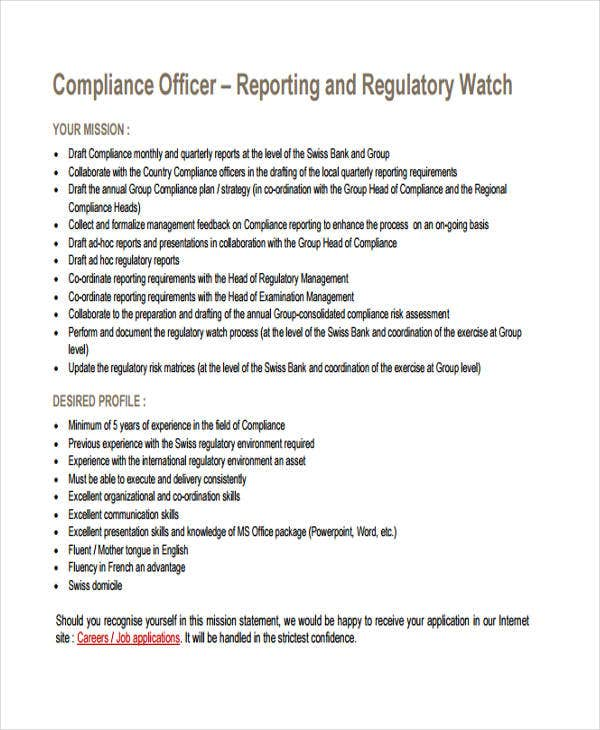 compliance officer report template1