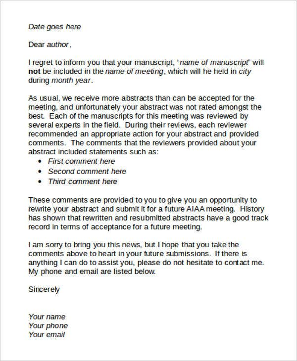 8  proposal rejection letter templates