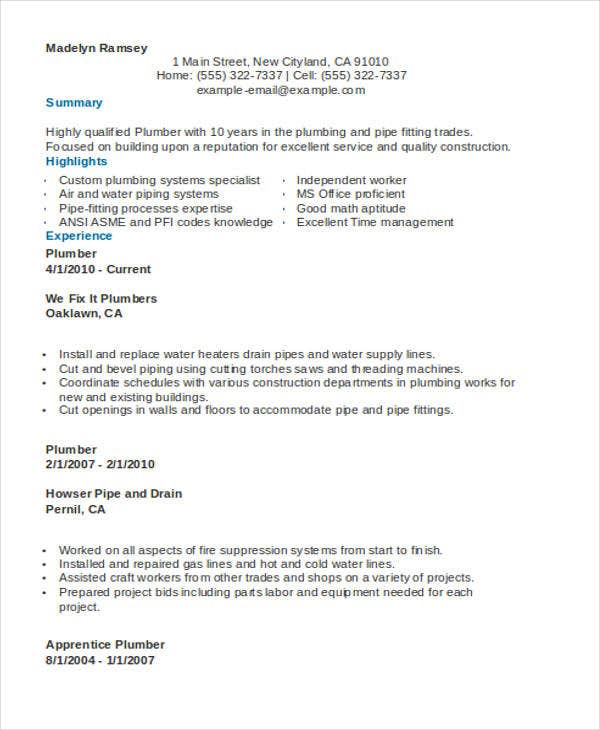 9  sample plumber resume templates