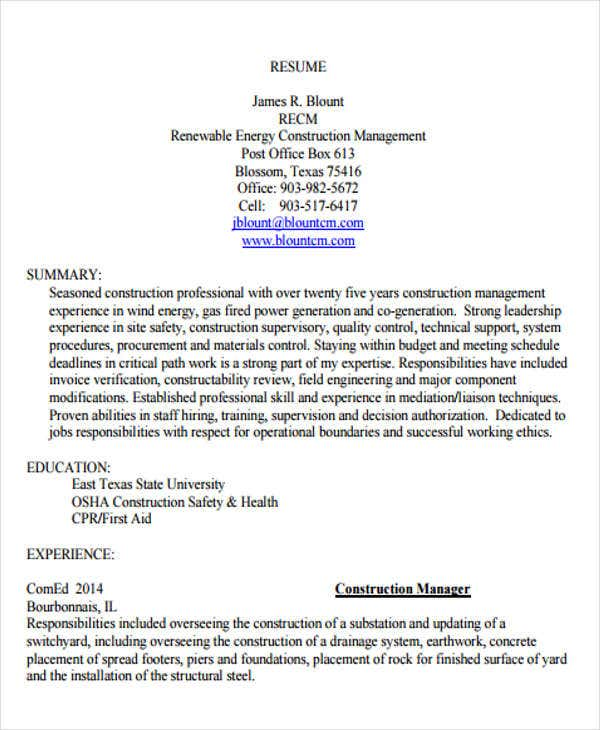 construction resume management template - Construction Management Resume