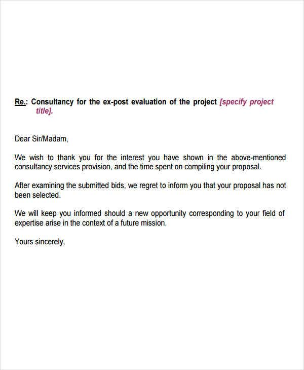 Contract Bid Rejection  Bid Proposal Letter