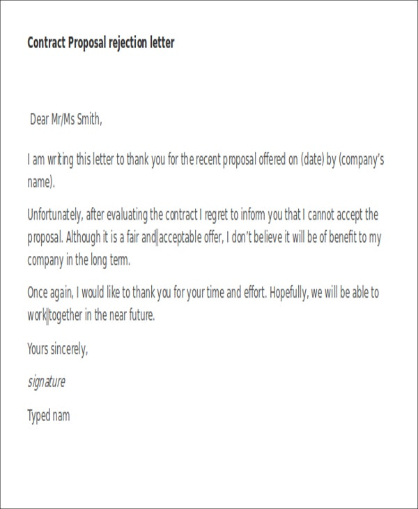 Proposal Rejection Letters   Free Sample Example Format