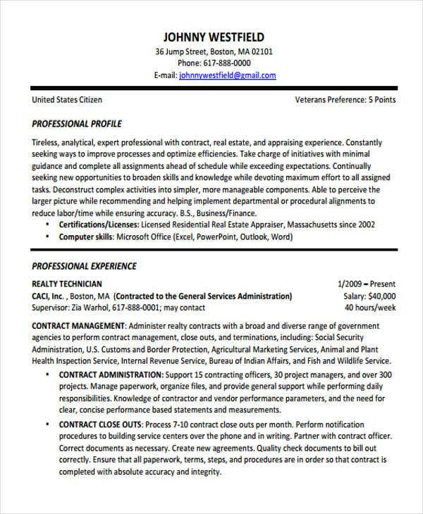 contract resume