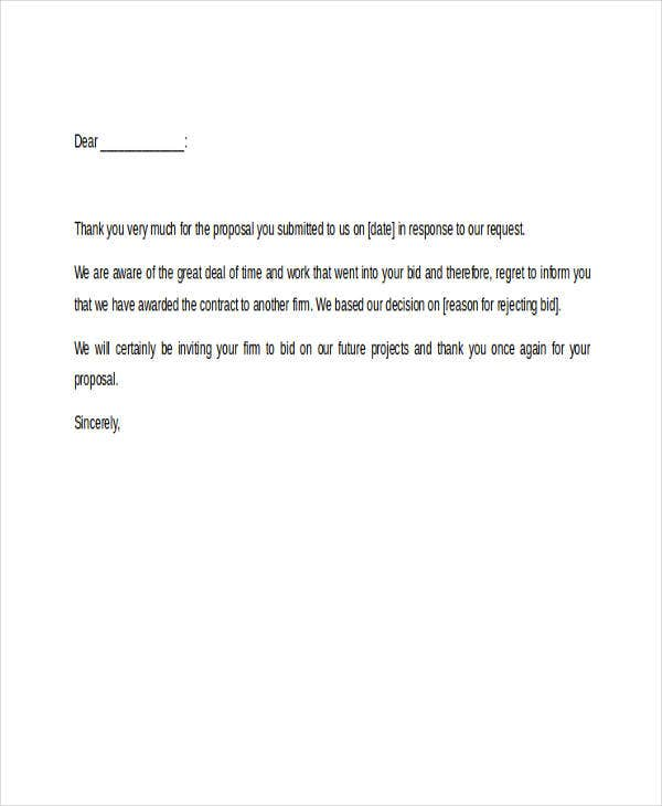 7+ Bid Rejection Letters - Free Sample, Example Format Download