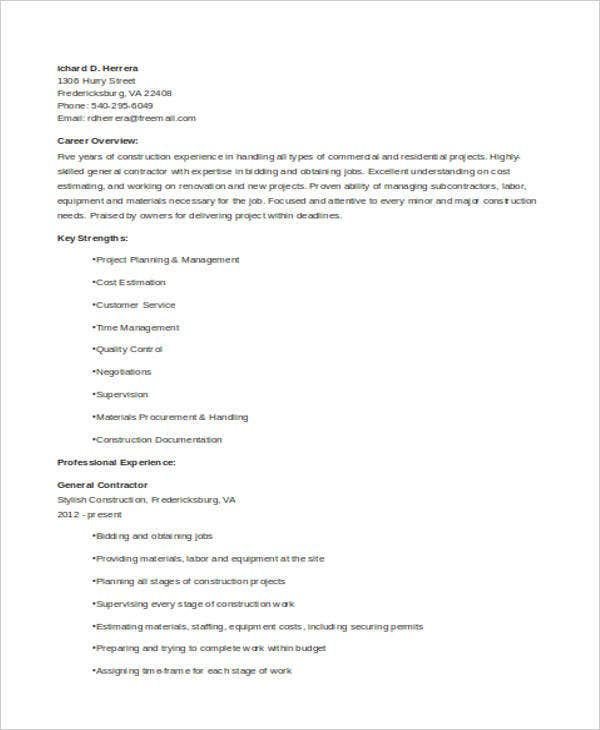 General Resumes  Free Word Pdf Format Download  Free