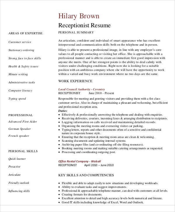 10 receptionist curriculum vitae templates 9 free word