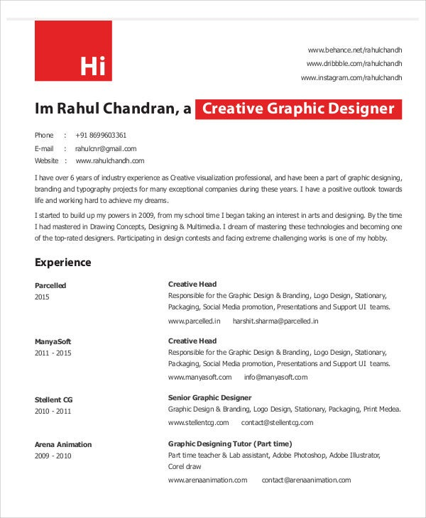Creative Graphic Designer  Graphic Designers Resume