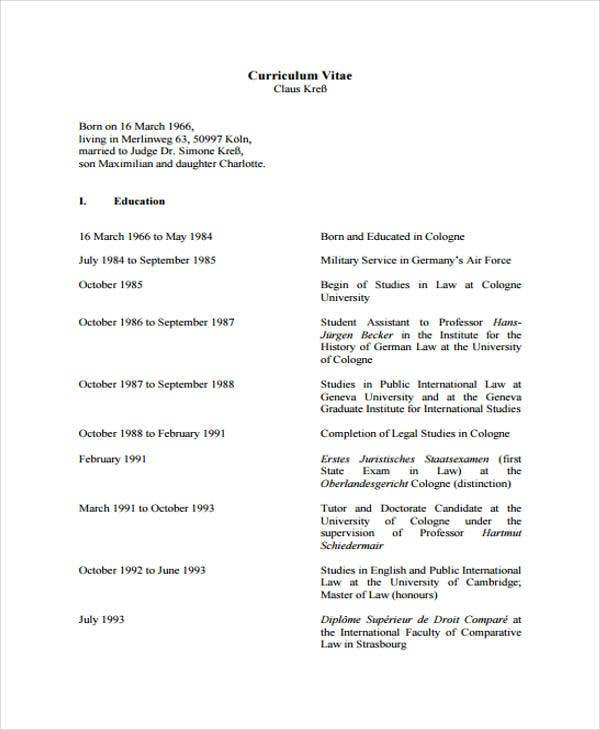 11  sample law cv templates