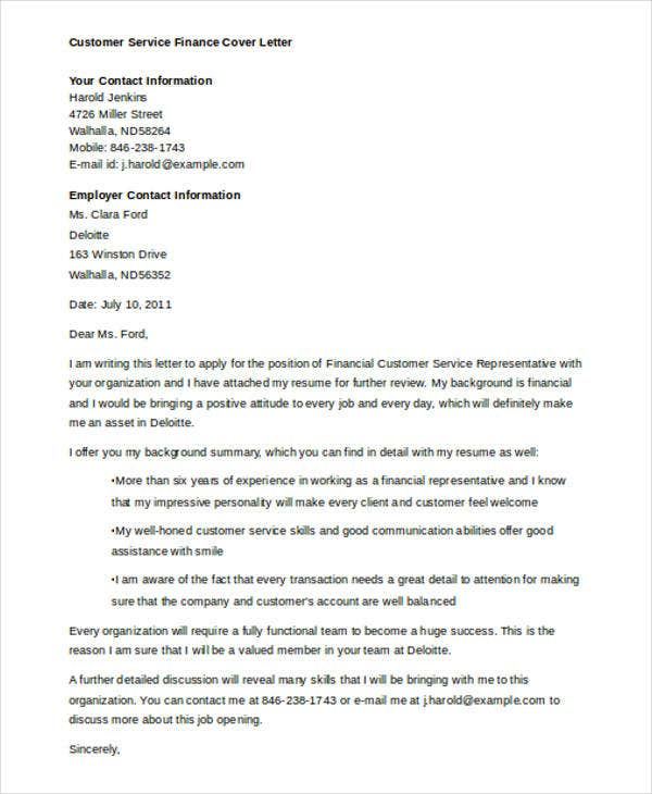 customer service finance - Financial Cover Letter