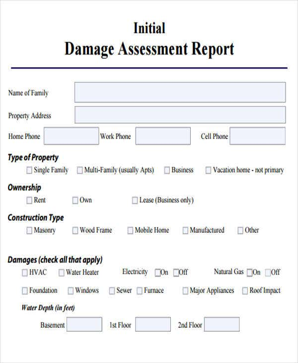 damage report template microsoft