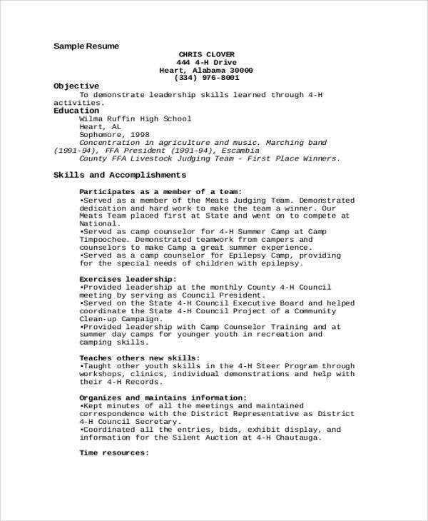 day camp counselor resume