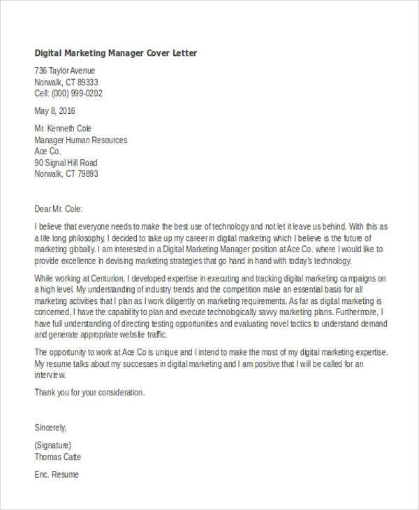 Exceptional Digital Marketing Manager Inside Marketing Cover Letters