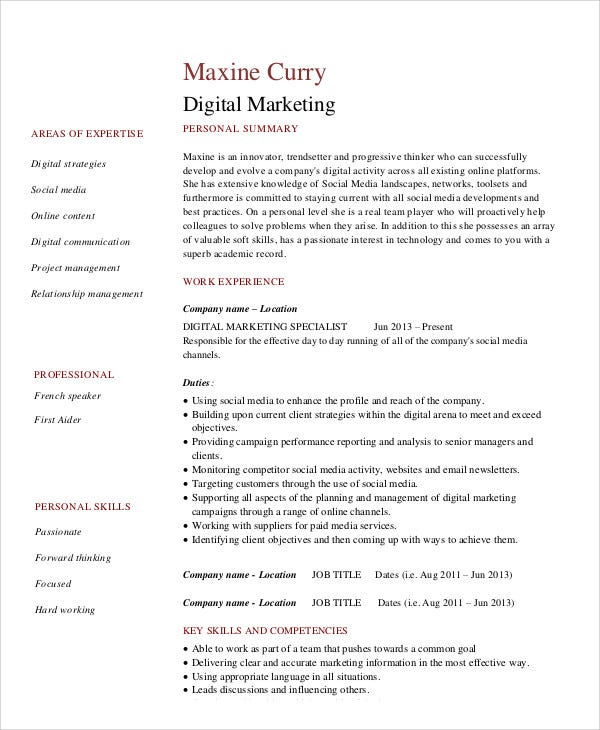 Digital Curriculum Vitae  Sample Example  Free  Premium