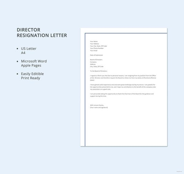 sample director resignation letters 9 free sample example format