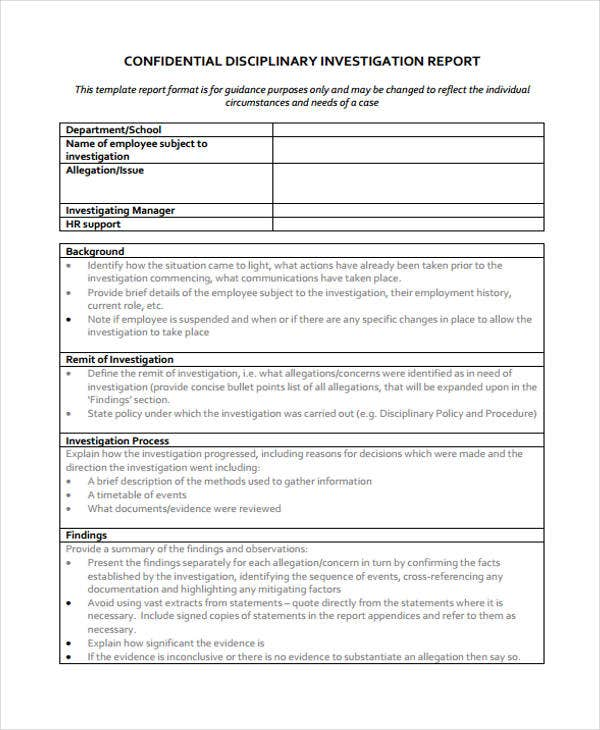 Report Template For Disciplinary Investigation Ideas