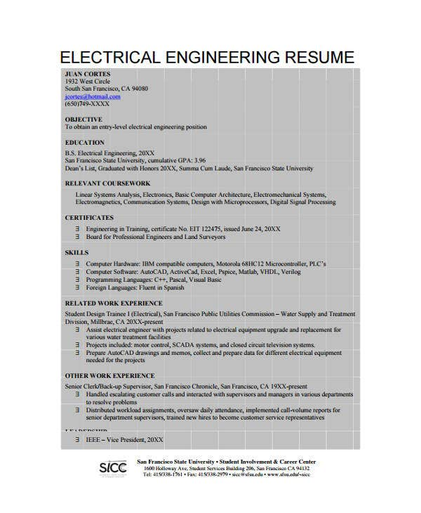 10  engineer resume samples
