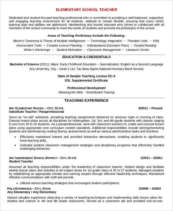 Elementary School Teacher Resume  Elementary Teacher Resume Samples