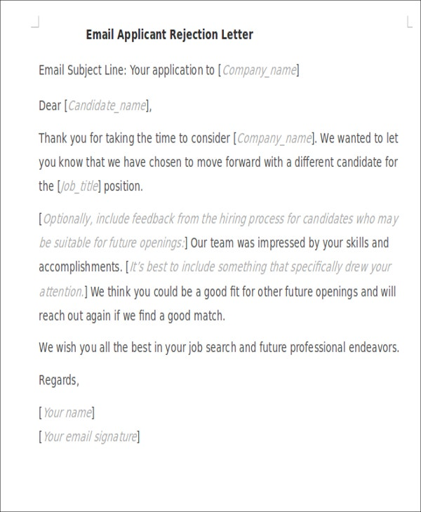 email applicant rejection letter