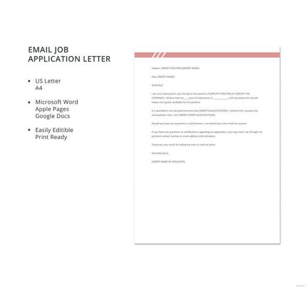 email job application letter template