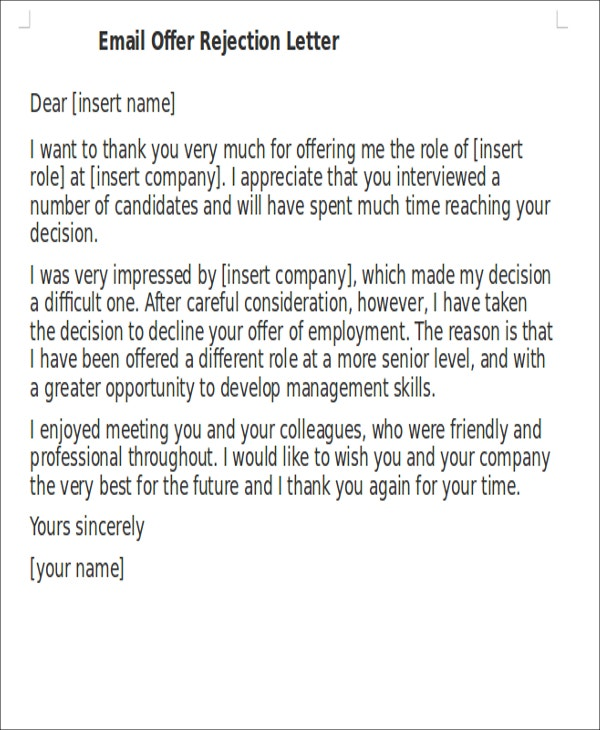 21 rejection letter templates free premium templates