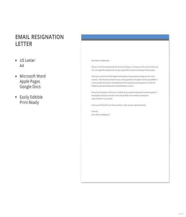 email resignation letter template1