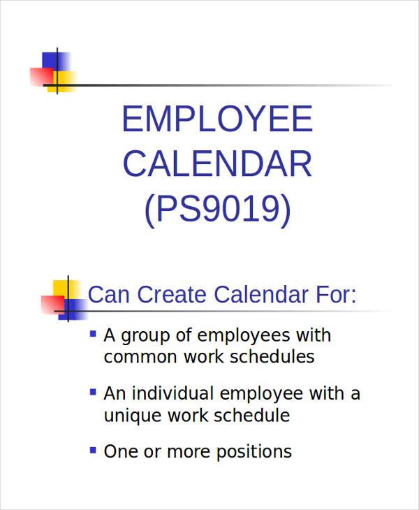 employee calendar powerpoint