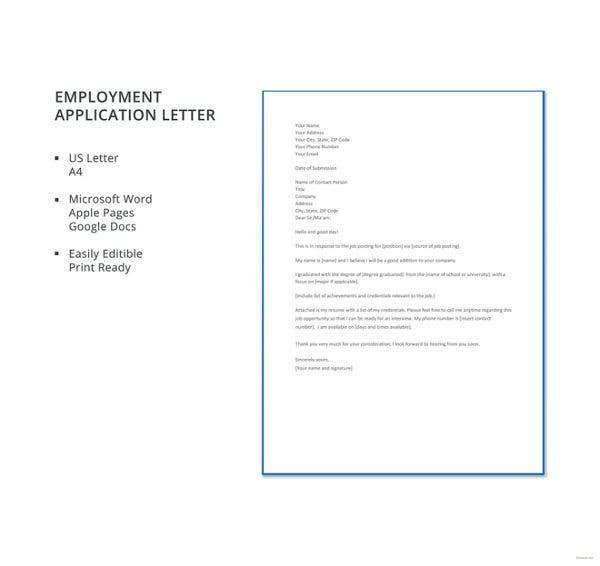 employment-application-letter-template