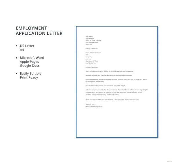 employment application letter template