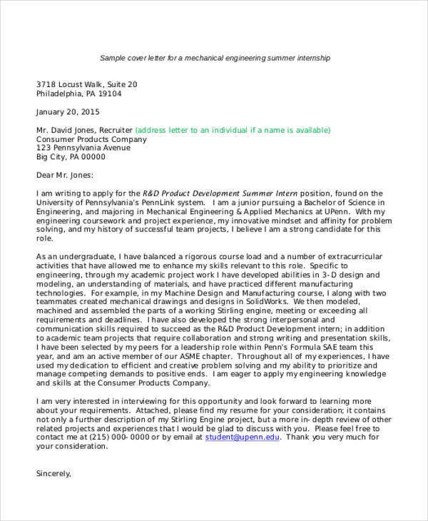 9 internship cover letter free sample example format download mechanical engineering summer internship altavistaventures Image collections