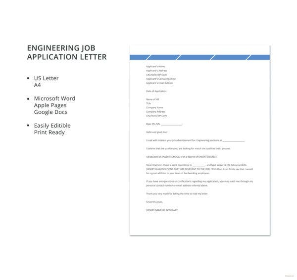 Engineering Job Application Letter Template
