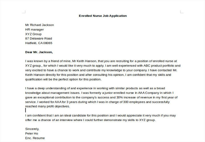 enrolled nurse job application letter1